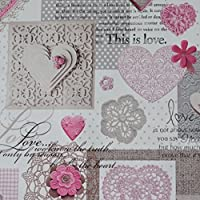 Nortex Mill White Shabby Chic Love Heart Lace Floral PVC Fabric - 2 Colours (Per Metre)