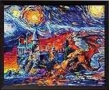uhomate Drache und Hogwarts Castle Vincent van Gogh Starry Night Poster inspiriert Home auf Leinwand, Jahrestag Geschenke Baby Kinderzimmer Decor Wohnzimmer Wanddekoration A002, 8x10 inch
