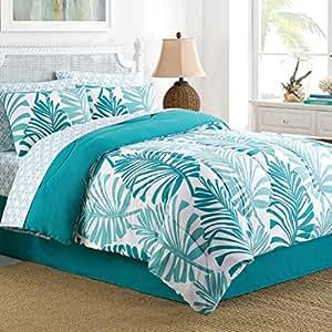 Palm, PLAGE tropicale House Doudou, Shams-Parure de Lit-Tour de lit-KING Size-& (Style) Exclusive Masque de sommeil (9 Pc Bundle)