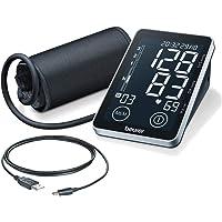 Beurer BM 58 Oberarm-Blutdruckmessgerät mit USB-Schnittstelle, zwei Benutzerspeicher für je 60 Messwerte, mit Arrhythmie-Erkennung und Risikoindikator, für Oberarmumfänge von 22-30 cm