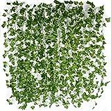 Meiso 12 Stk Künstlich Efeu Girlande (Jede Länge ca. 2 m) Wanddekoration Efeuranke Efeugirlande Efeubusch Kunstpflanze für Hochzeit Party Garten Wohnung Deko Ranke Pflanze