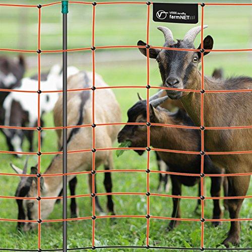 Filet électrifiable de clôture pour moutons chèvres VOSS.farming farmNET, 50 m, hauteur 108 cm, 14 piquets, 2 pointes, orange