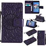 For Sony Xperia Z3 Mini/Compact Case [Purple],Cozy Hut [Wallet Case] Magnetic Flip Book Style Cover Case ,High Quality Classic New design Sunflower Pattern Design Premium PU Leather Folding Wallet Case With [Lanyard Strap] and [Credit Card Slots] Stand Function Folio Protective Holder Perfect Fit For Sony Xperia Z3 Mini/Compact 4,6 inch - purple