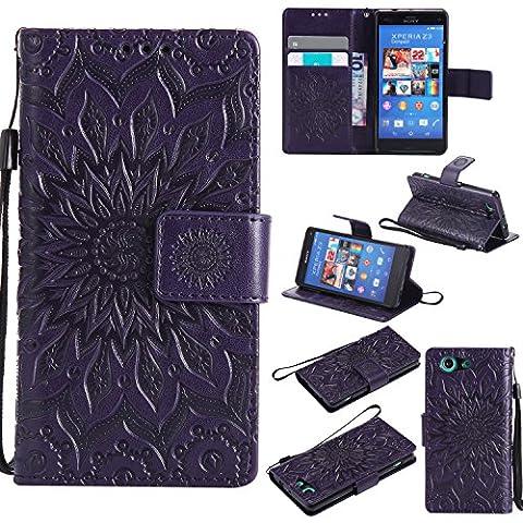 Xperia Z3 Compact hülle,Xperia Z3 Mini Handyhülle,Sony Xperia Z3Mini (4.6)/Z3 Compact Leder Wallet Tasche Brieftasche Schutzhülle ,Lonchee Sonnenblumen geprägten Muster Design Hochwertige PU Leder Folio Tasche Case Hülle im Bookstyle mit Standfunktion Kredit Kartenfächer (Sony Xperia Z3 Micro Sd Card)