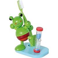 Hess Holzspielzeug 14520 Sablier de brossage des dents en bois avec porte-brosse pour enfants, fabriqué à la main avec…