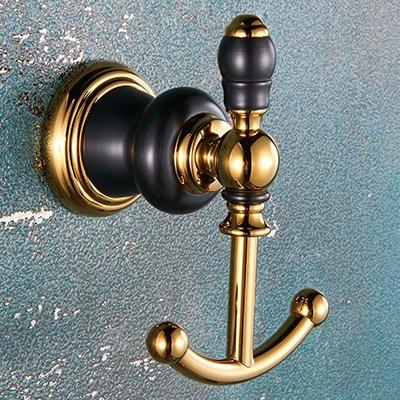 LHbox Tap El Cobre Oro Viejo Oro Negro baño Toallas de baño WC Retro toallero de Soporte de Montaje en Pared, Negro Oro - Cobre la Percha