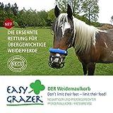 EasyGrazer® Weidemaulkorb ist die pferdefreundliche Alternative zum schonenden Anweiden und ganzjähriger Kontrolle der Futteraufnahme bei Pferden (Fressbremse)