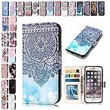 V-Ted Samsung Galaxy S7 Flip Case Lederhülle Handytasche Handyhülle Schutzhülle Ledertasche klapphülle Tasche Etui Hülle Leder - Blau Mandala