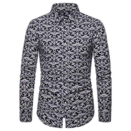 VWsiouev Herren Tropical Langarm Turn-Down Kragen Druck Beach Aloha Hawaii Button Down Dress Shirt -
