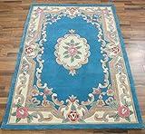 eRugs Original Traditionnelle Classique Aubusson Floral 100% Laine tissé à la Main Tapis Chinois, Bleu 120x 180cm...