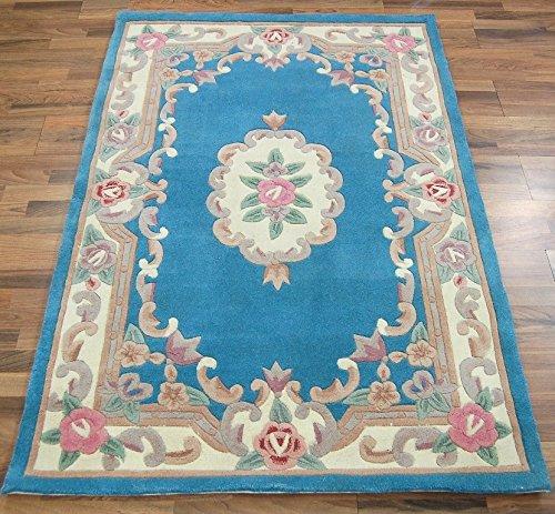 eRugs Traditionelle Original Klassische Aubusson Floral 100% Wolle Handgetuftet Chinesische Teppich, blau 120x 180cm -