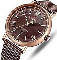 Naviforce Men's Brown Dial Stainless Steel Mesh Analog Watch - NF3006-