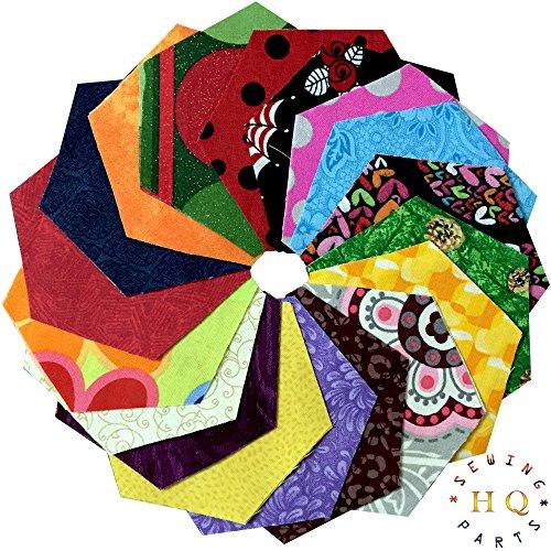 Sechseckige Stoff-Flicken (Charm Pack), bunt bedruckt, für Patchwork-Quilten, 30 Stück-12,7cm -100% Baumwolle, 100 % Baumwolle, mehrfarbig, 5