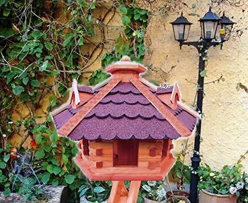 BTV Haus & Garten Vogelhaus-Futterhaus, mit Futterschacht/Silo - Dosierung, 3 Gauben als Fettspender-Dach-groß aus Holz-mit Dach ROT dunkelrot /-ROT dunkelrote Bitumenschindel