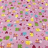 Tela por metros de sábana estampada - Algodón y poliéster - Ancho 270 cm - Largo a elección de 50 en 50 cm | Mariquitas y corazones, rosa