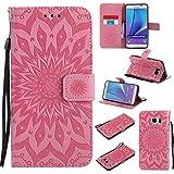 BoxTii Coque Galaxy Note 5, Etui en Cuir de Première Qualité [avec Gratuit Protection D'écran en Verre Trempé], Housse Coque pour Samsung Galaxy Note 5 (#3 Rose)