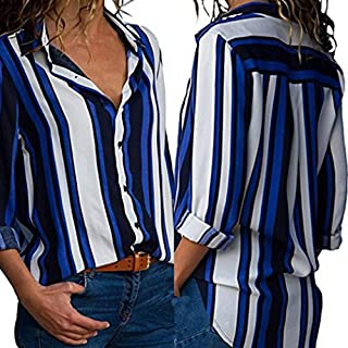 Lazzboy Women Casual Cuffed Long Sleeve V-Neck Button Up Striped Color Block T Shirt Blouse Tops (L,Blue Stripe)