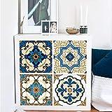 EXTSUD Set de 4 Stickers Muraux pour Meuble Sticker Carrelage 33x33cm en PVC Décoration Autocollant Mural Étanche Décoration pour Meubles Muraux Chambre Salle de bains (Style Marocain)