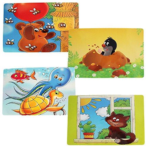 COM-FOUR® 4x Platzsets für Kinder, Tisch-Set mit verschiedenen Motiven, 44 x 28 cm (04 Stück - 44 x 28 cm Kindermotive 2)