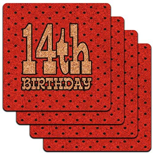 14. vierzehnten Geburtstag rot schwarz Polka Dots Low Profile Cork Untersetzer Set