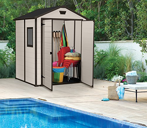 Keter Manor Outdoor Plastic Garden Storage Shed, 6 x 5 feet – Beige