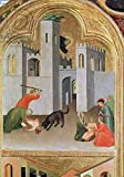 Leinwand-Bild 80 x 110 cm: 'Agostino Novella Rescuing a Child who has been Bitten by a Dog, detail from the Blessed Agostino Novello Altarpiece, c.1328 (tempera on panel)', Bild auf Leinwand