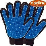 2 Stück Fellpflege Handschuh für Haustier Hund Tierhaarentferner Massage Pflegebürste