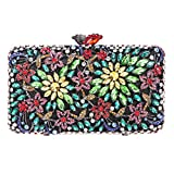 Bonjanvye Crystal Rhinestone Flower Clutch Purse for Women Evening Dressing Match Multicolor