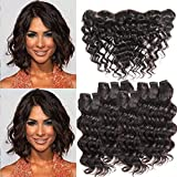 MORICHY Hair Brazilian Deep Wave 4 Bundles with Lace Frontal Closure Short Human Hair with Frontal Unprocessed Virgin Brazilian Hair with Frontal Closure 50g/pc Full Head Natural Color