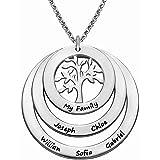 Collana di Famiglia Personalizzata con un massimo di 9 Nomi di Bambini Albero Della Vita Ciondolo Inciso Anello con Collana a