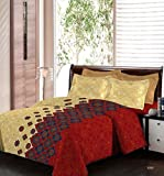 Bombay Dyeing Engracia 144 TC Cotton Double Bedsheet with 2 Pillow Covers - Red