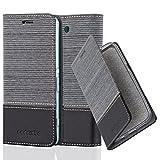 Cadorabo Hülle für Sony Xperia Z3 COMPACT - Hülle in GRAU SCHWARZ – Handyhülle mit Standfunktion und Kartenfach im Stoff Design - Case Cover Schutzhülle Etui Tasche Book