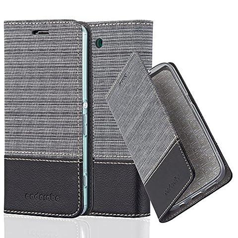Cadorabo - Book Style Schutz-Hülle für Sony Xperia Z3 COMPACT / MINI case cover im Stoff - Kunstleder Design mit Kartenfach, Standfunktion und unsichtbarem Magnet-Verschluss in