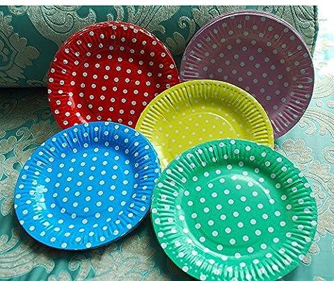 Primi jetables de couleur spot rond à gâteau de fête à dessert Assiettes en papier