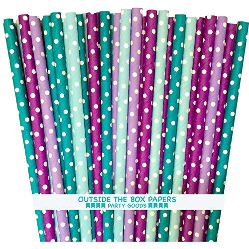 Unter dem Meer Thema Mermaid Thema Papier Trinkhalme violett lila Blaugrün Blau-Polka Dot-19,7cm-100Pack-Außerhalb der Box Papier Marke