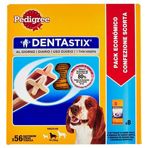 Pedigree Denta Stix Hunde-Zahn-Snack mittelgroße Hunde (10-25kg), Zahnpflege-Snack mit Huhn und Rind, 1 Packung je 56 Stück (1 x 1.44 kg)