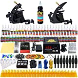 Solong Tattoo® Profi Komplett Tattoomaschine Set 2 Maschine Guns 54 Farben/Inks Tinte Nadel Tattoo maschine Set Kit TK251