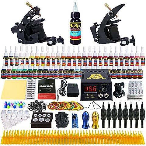 Solong Tattoo® Kit de Tatouage Complète 2 Machine à Tatouer Professionnelle 54 Encres Power Supply Aiguille de Tatouage Tattoo Kit Set TK251