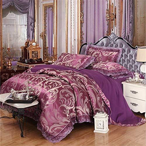 Baumwolle Stickerei Satin Seide Jacquard Bettwäsche-Sets Bettlaken Königin King Size Bettbezug Sets Lila 180x220cm Versace Jacquard