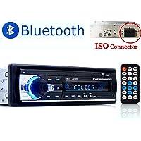 PolarLander Radio de Voiture Audio USB/SD/Lecteur MP3 Récepteur Bluetooth Mains Libres avec télécommande Noir 1 Din