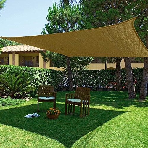 Vela giardino zona ombra terrazzo quadrato 3.6x3.6mt ecru telo copertura