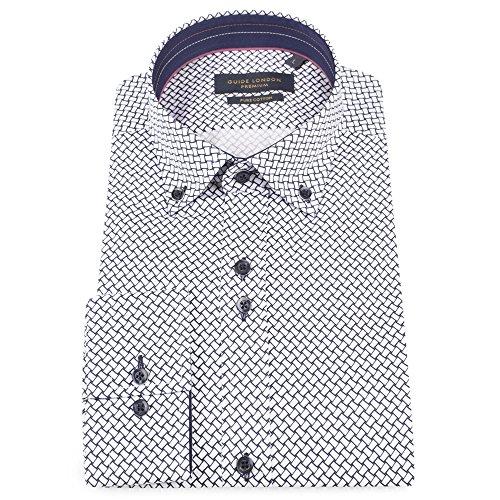 Guide London De Coton Satinette Géométriques Impression Manches Longues Slim Fit Décontractée Chemise pour Hommes LS74565 Blanc Marine