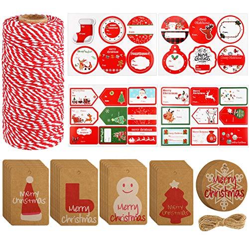 328 Pies Guita de Navidad Etiquetas de Regalo de Navidad y y Etiquetas Pegatinas para Kit de Accesorios de Bricolaje Envolver Regalos de Navidad
