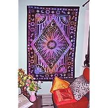 Twin Tie Dye morado Burning Sun Tapestry, Sol Luna celeste planeta tapiz bohemio Tapiz Tapiz colgante de pared Boho Glorafilia Hippie Hippy Glorafilia Beach Coverlet cortina