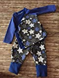 Baby-Set warm 2-tlg. Pumphose Schlupfhose + Wickeljäckchen Sterne grau-blau Gr. 56-68