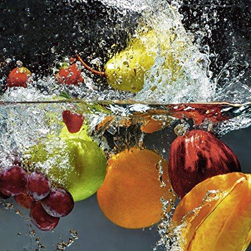 Bild Für Küche Großes (Artland Echt-Glas-Wandbild Deco Glass nmedia Spritzendes Obst auf dem Wasser Ernährung & Genuss Lebensmittel Obst Fotografie Bunt D1GJ)
