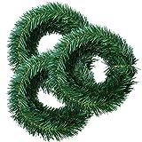 Elcoho 16,5m ghirlande di Natale Pino Verde Pino Artificiale Ghirlanda di Natale ghirlande Holiday Christmas Home Decor (3Rotoli, per Rotolo 5,5m)