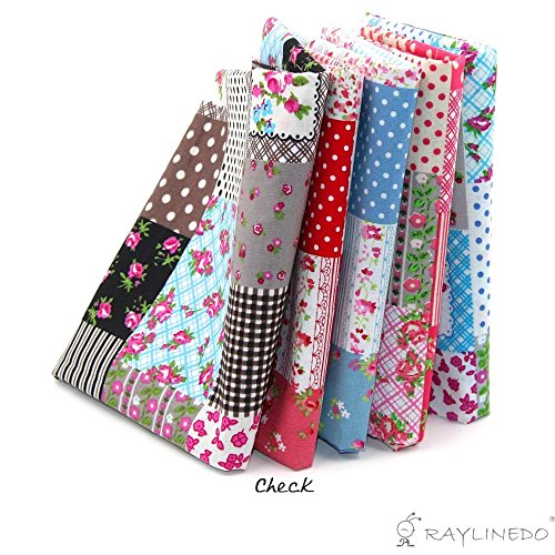 RayLineDo® 5X Different Pattern Floral & Polka Dots Style 100% Cotton Poplin Fabric Fat Quarter Bundle 46 x 56cm ( Appox 18