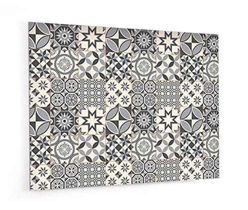 """Fond de hotte en panneau composite aluminium ou crédence de cuisine prête à poser avec adhésif double face """"Carreaux de ciments motif géométrique"""" - L. 90 x H. 70 cm - Epaisseur 3 mm - [ Impression Murale® ]"""