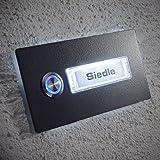 Metzler-Trade Edelstahl-Türklingel in Anthrazit - mit LED-Taster - optional beleuchtetes Namenssschild wählbar - austauschbare Namensschilder von RENZ – aus Edelstahl – für die Aufputz-Montage - Maße: 70 x 140 mm